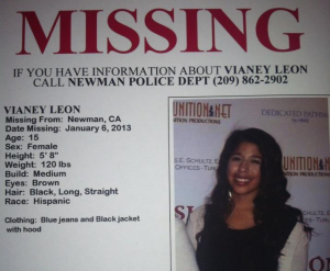 Praying for Vianey Leon, missing from Newman, CA - 1/6/2013